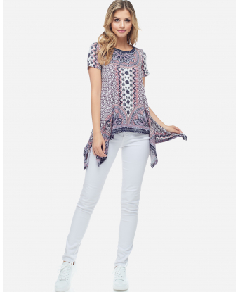 Fever Printed Tee with Asymmetric Hem
