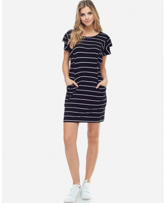 Fever Striped Side Ruffle Dress