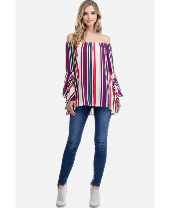 Fever Striped Bell Sleeve Top