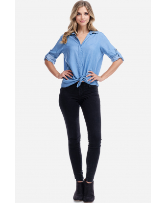 Fever Soft Denim Tie Front Top