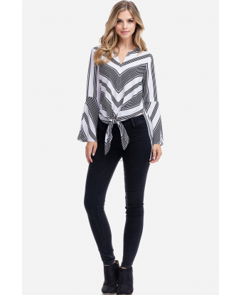 Fever Striped Tie Front Top