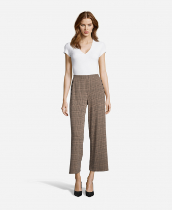 Plaid Pants with Side Buttons