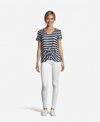 Striped Top with Knot Front