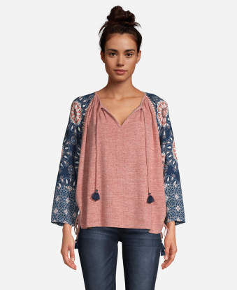 JohnPaulRichard Printed Sleeve Peasant